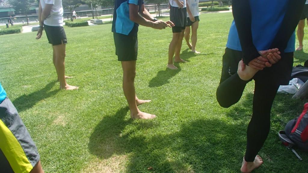 芝生の上で準備運動
