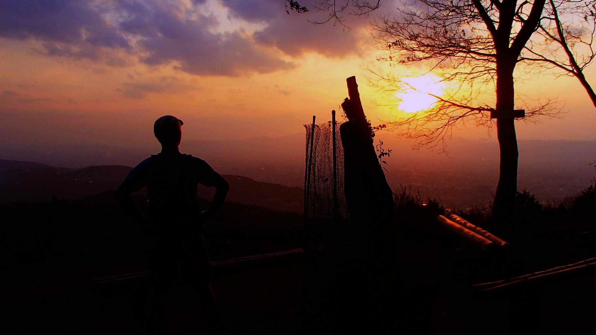 大文字山頂からの夕焼け